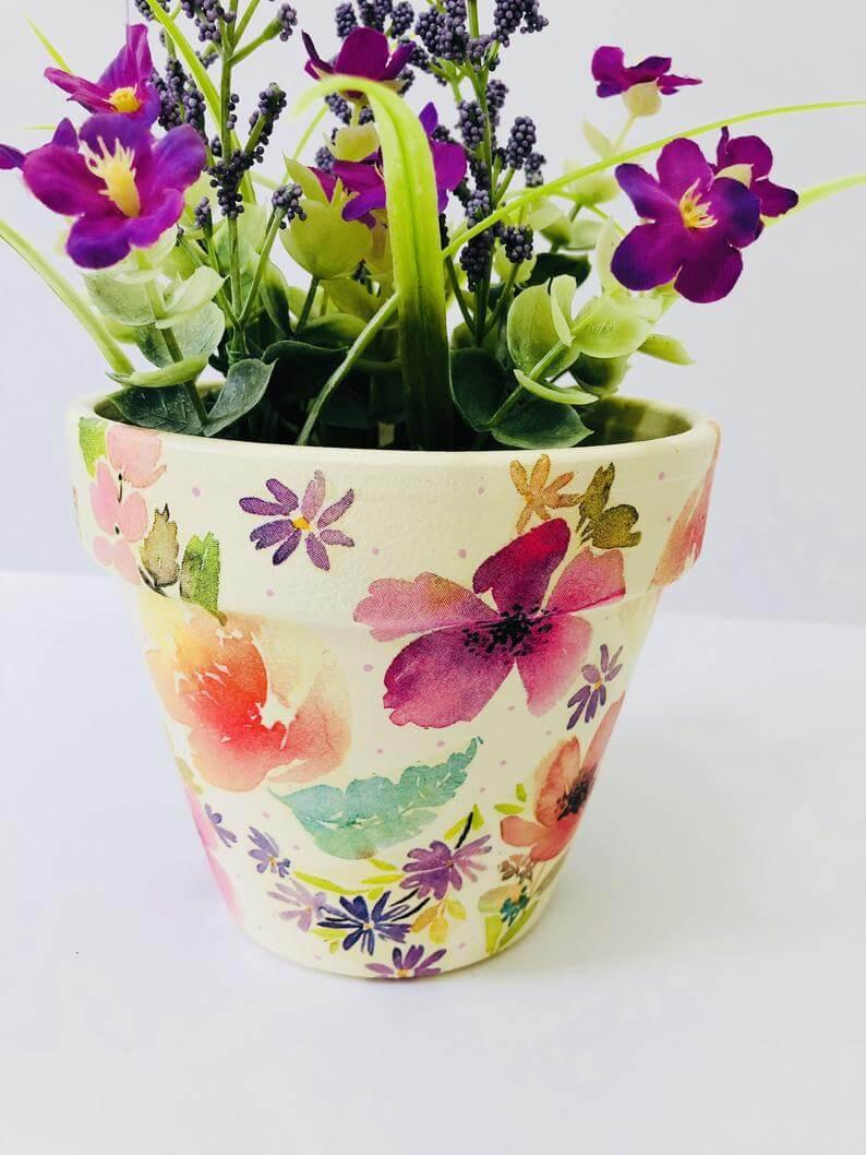 Decoupaged Watercolor Floral Flower Pot
