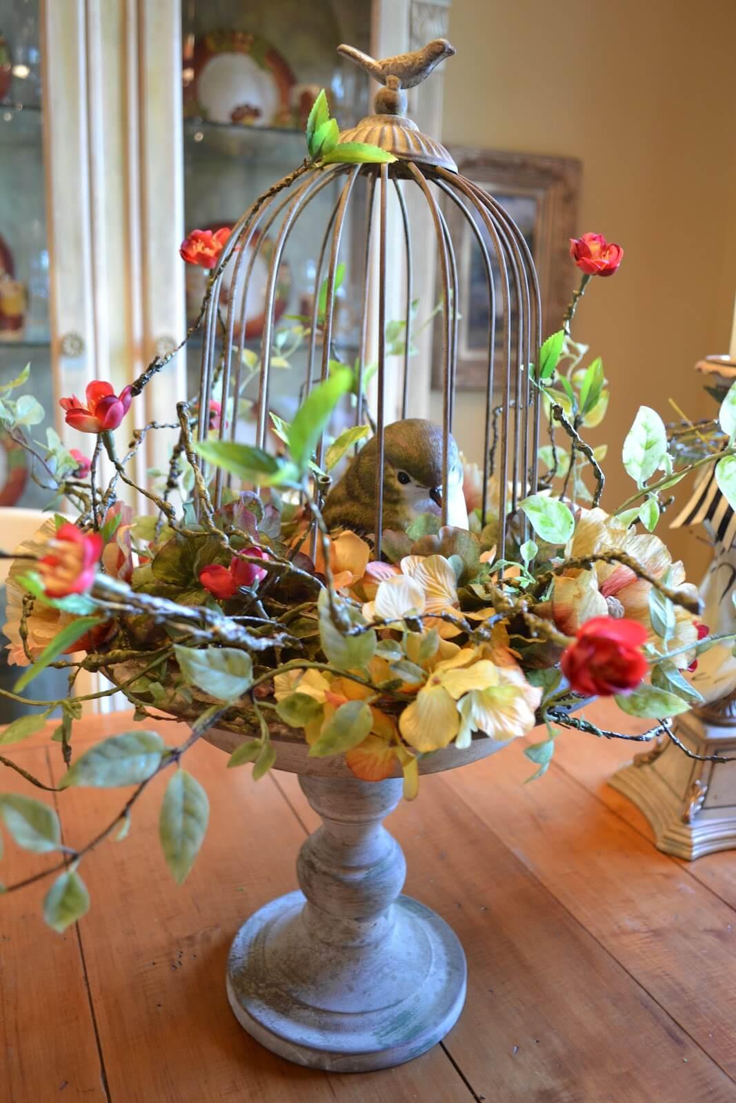 Elegant Floral Bird Cage Design