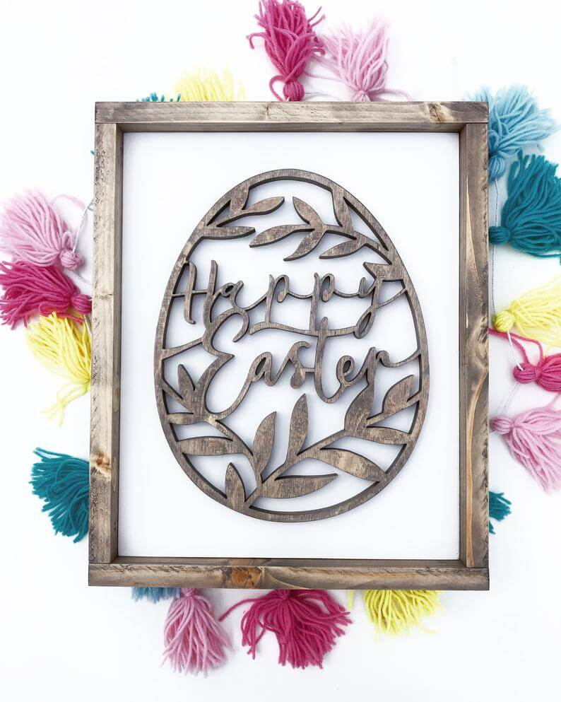 Hand-Scrolled Wooden Easter Egg Sign
