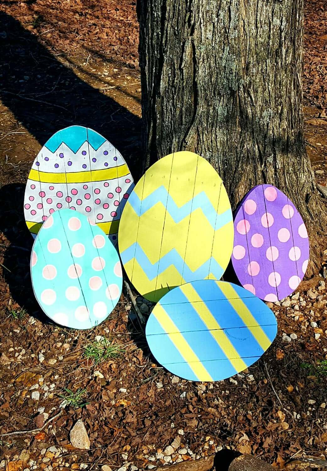 Extra Large Pastel Wooden Eggs Lawn Decorations