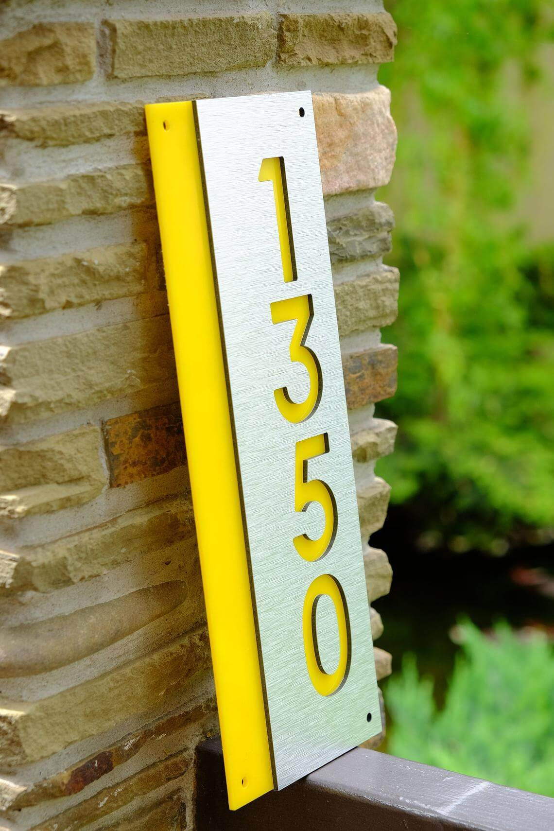 Bright Wooden House Number Block