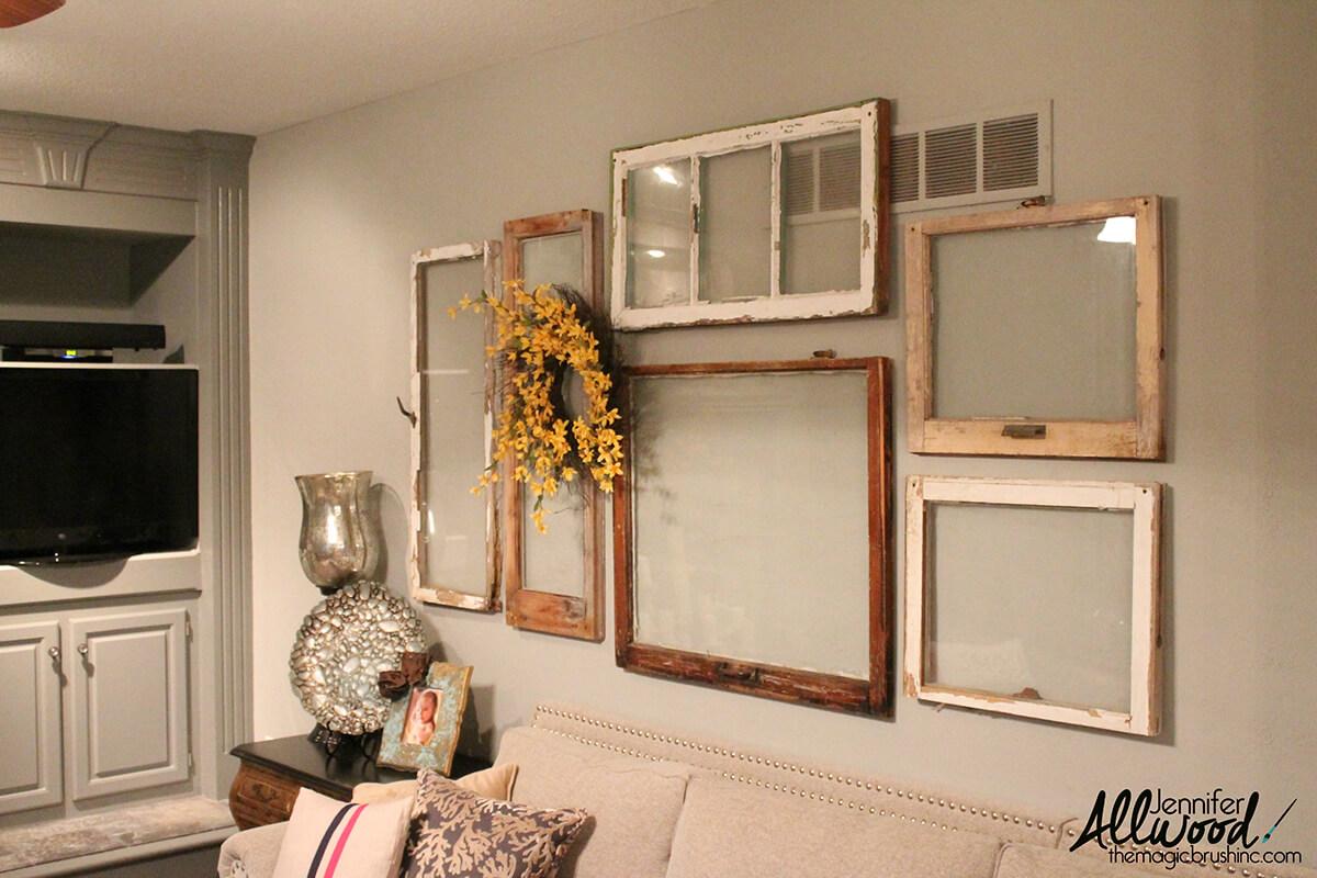 Gallery Wall of Rustic Windows