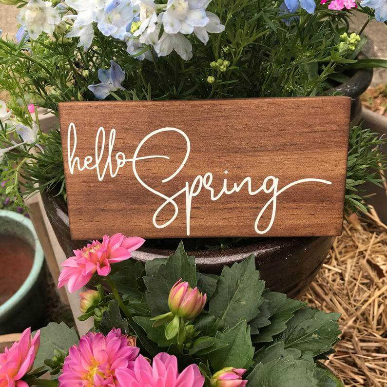 Simply Stated Wooden Spring Sign Decor