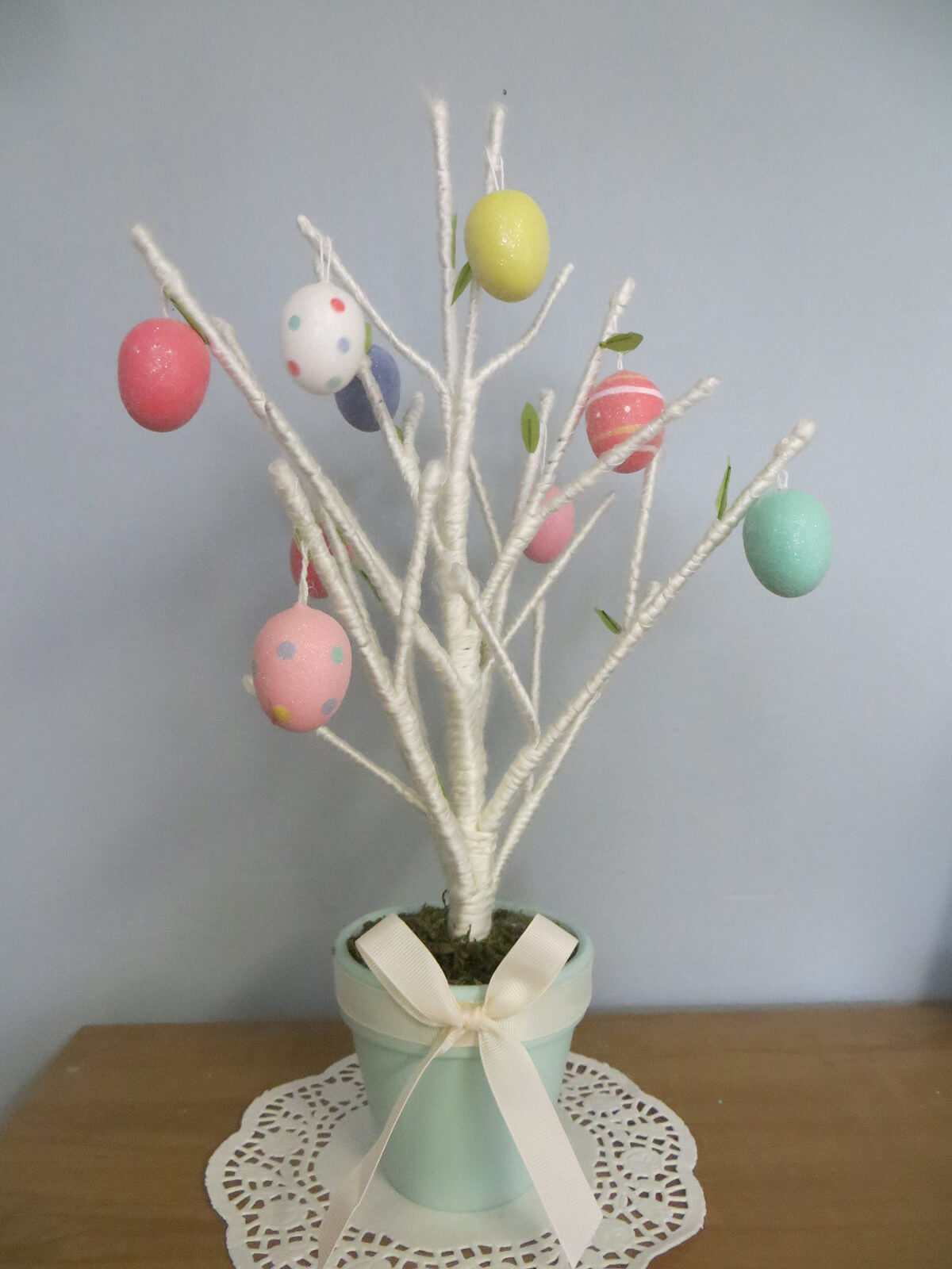 White Yarn Egg Tree Centerpiece