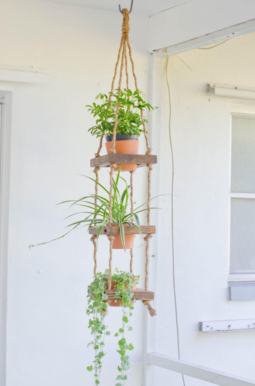 Macrame and Wood Tiered Pot Garden