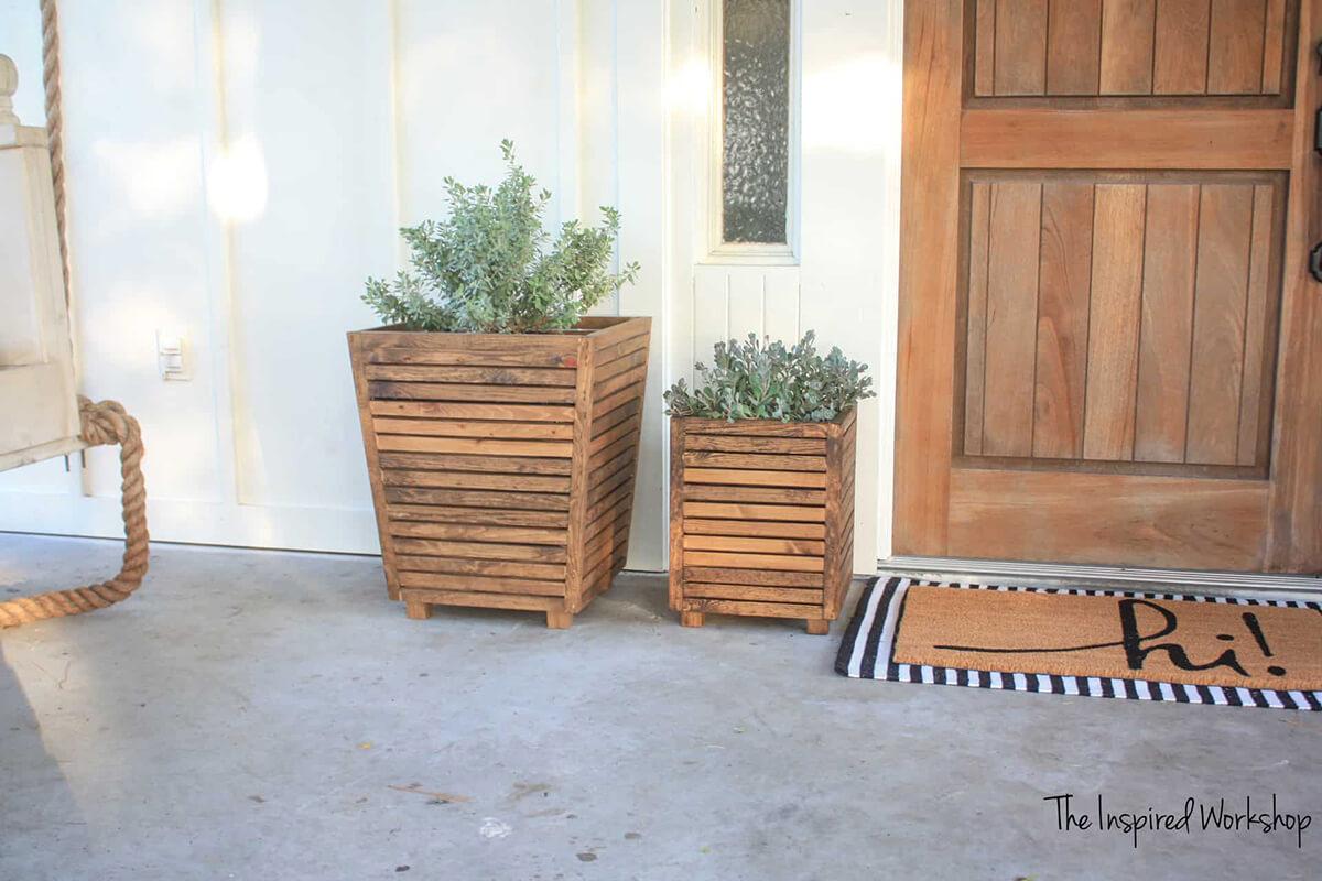 Rich Brown Slatted Wooden Porch Planter