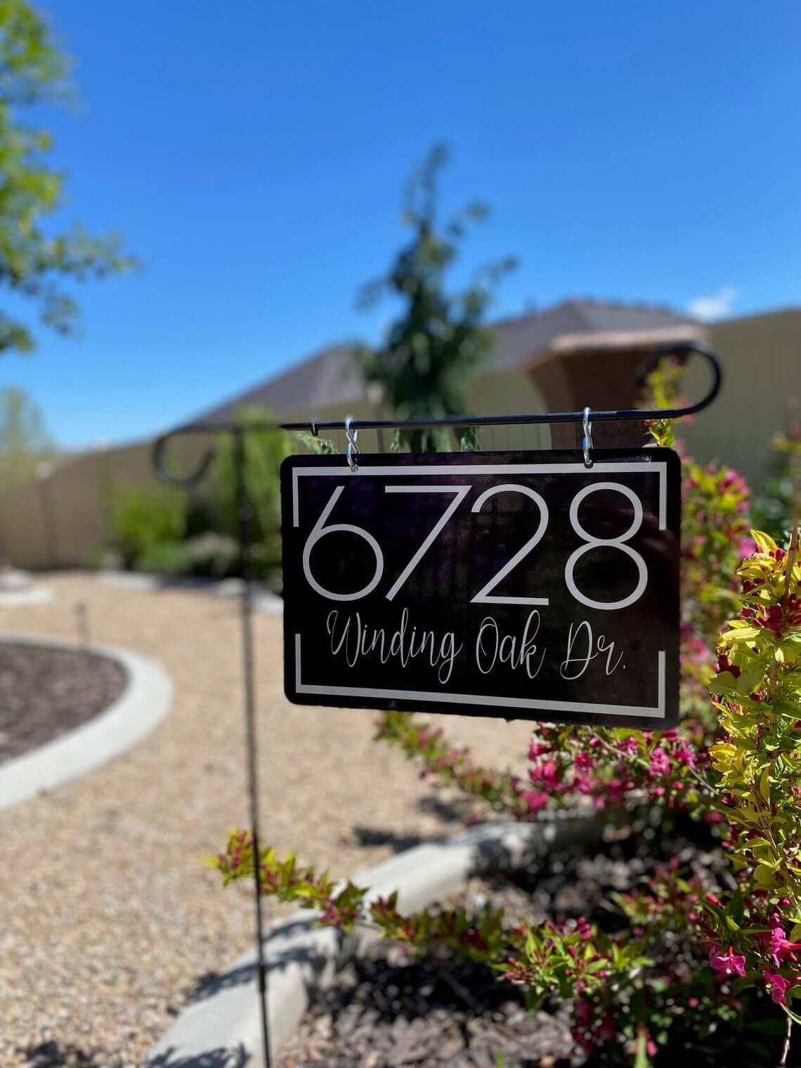Fancy Hanging Driveway Address Sign