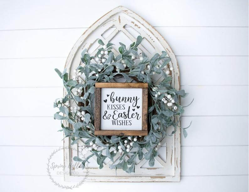 Bunny Kisses and Easter Wishes Wooden Sign