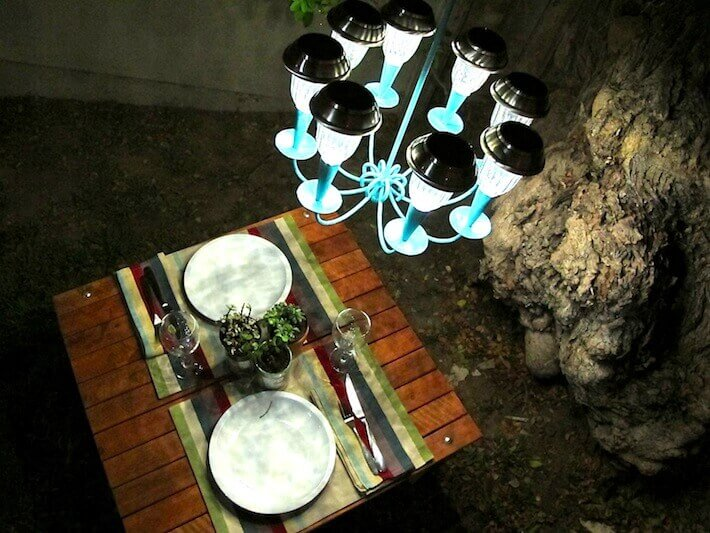 Upcycled Outdoor Chandelier with Solar Lights