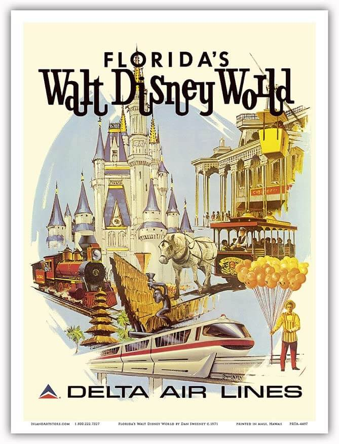 Walt Disney World Vintage Illustration
