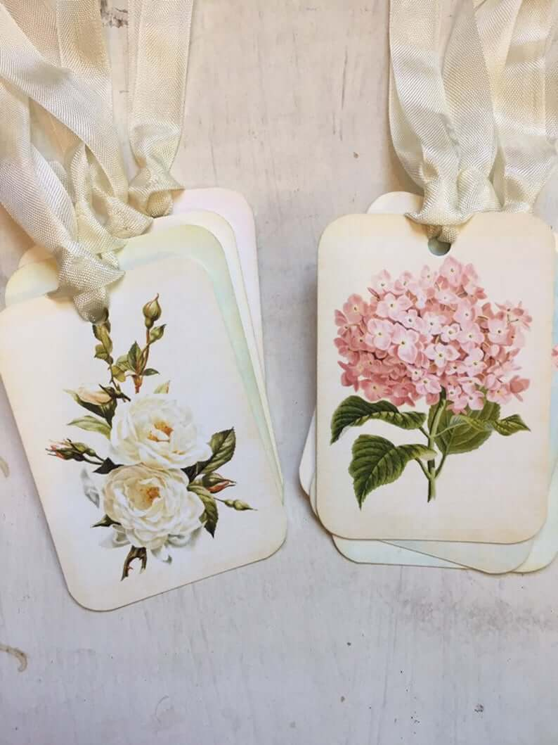 Hydrangea or Rose Set of 4 Tags with Ribbon