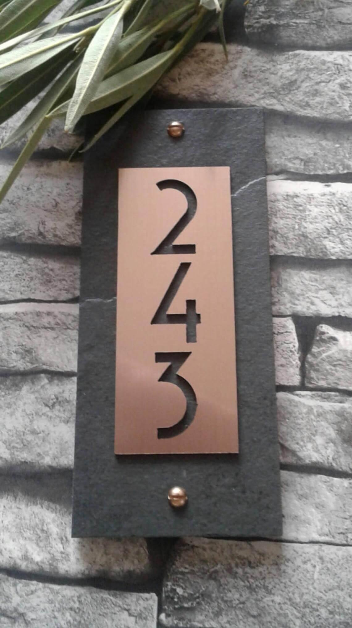 Engraved Metal Address Number Sign