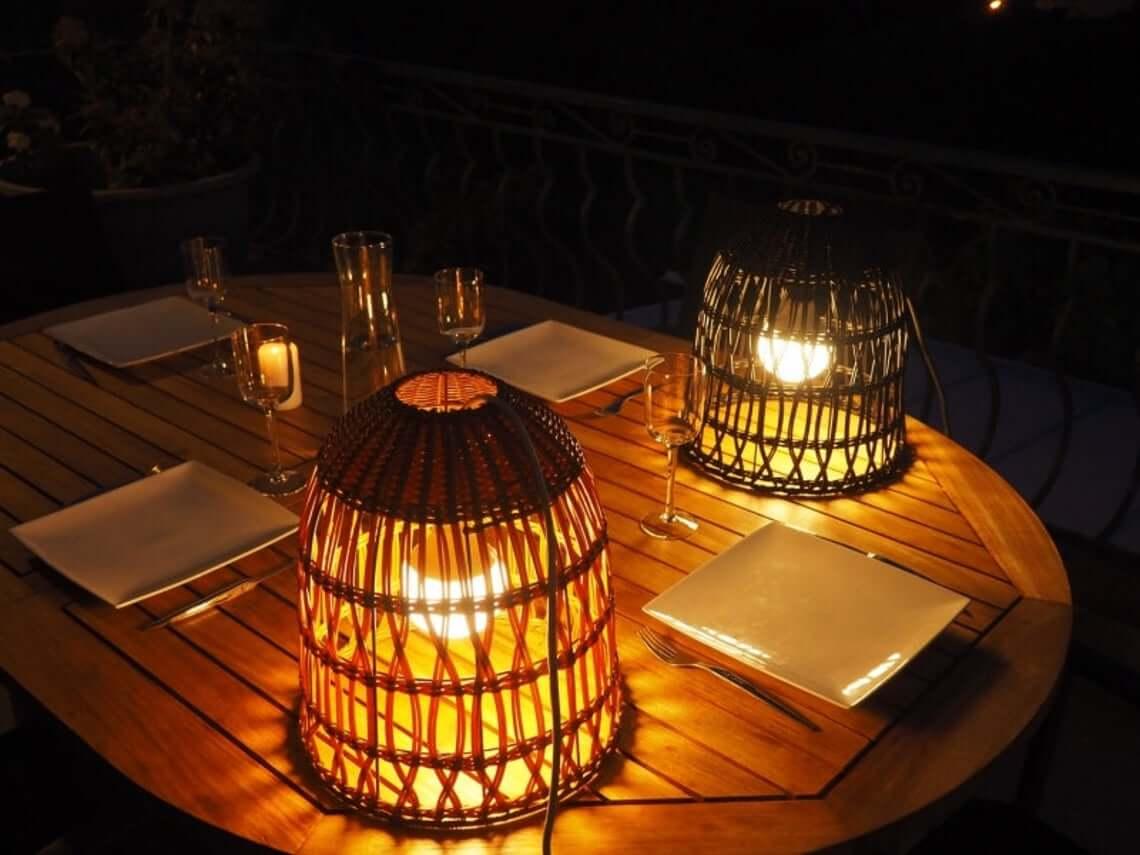 Upside Down Basket Dome Outdoor Lighting