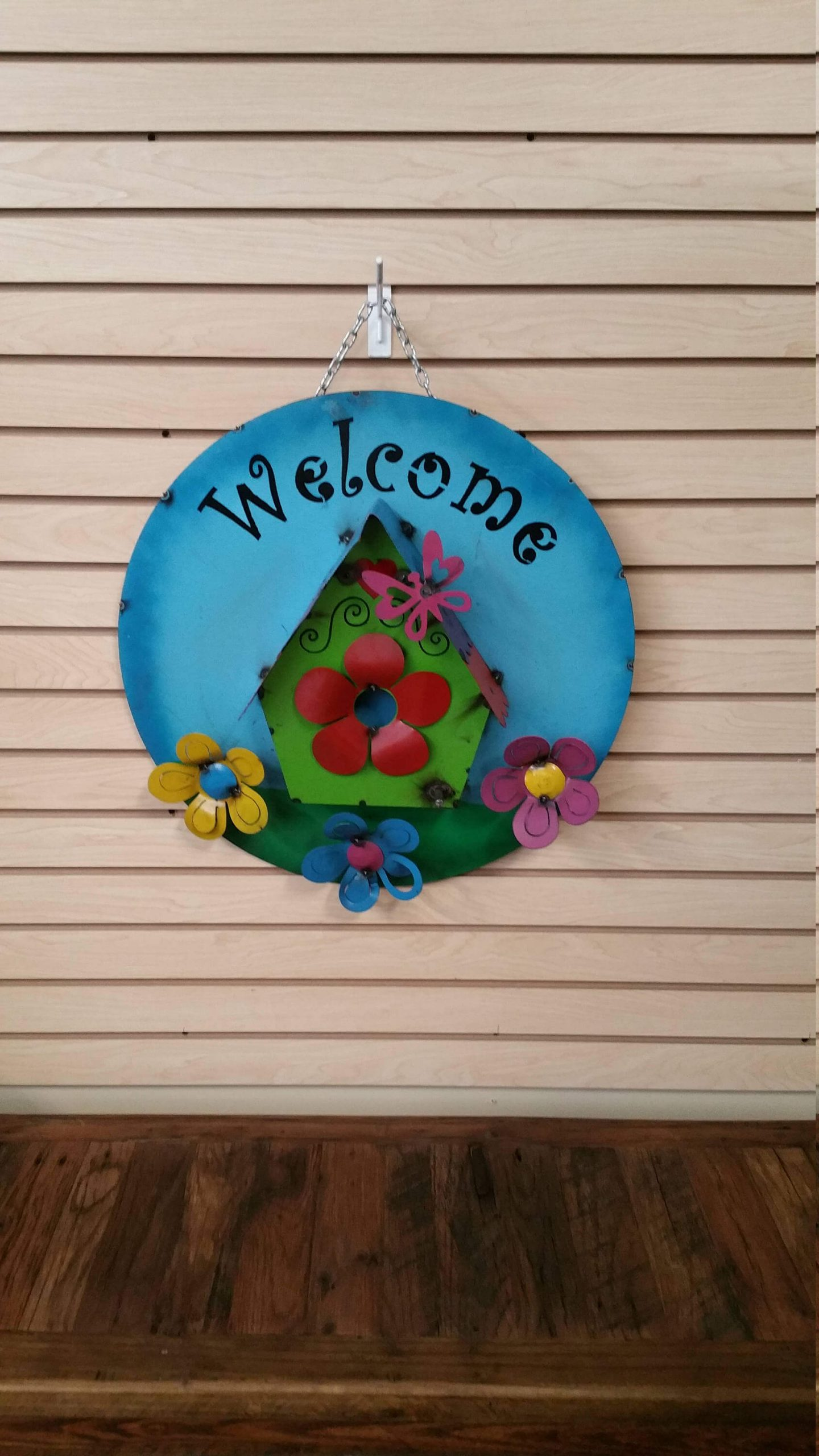Metal Sign with Flowers and Bird House