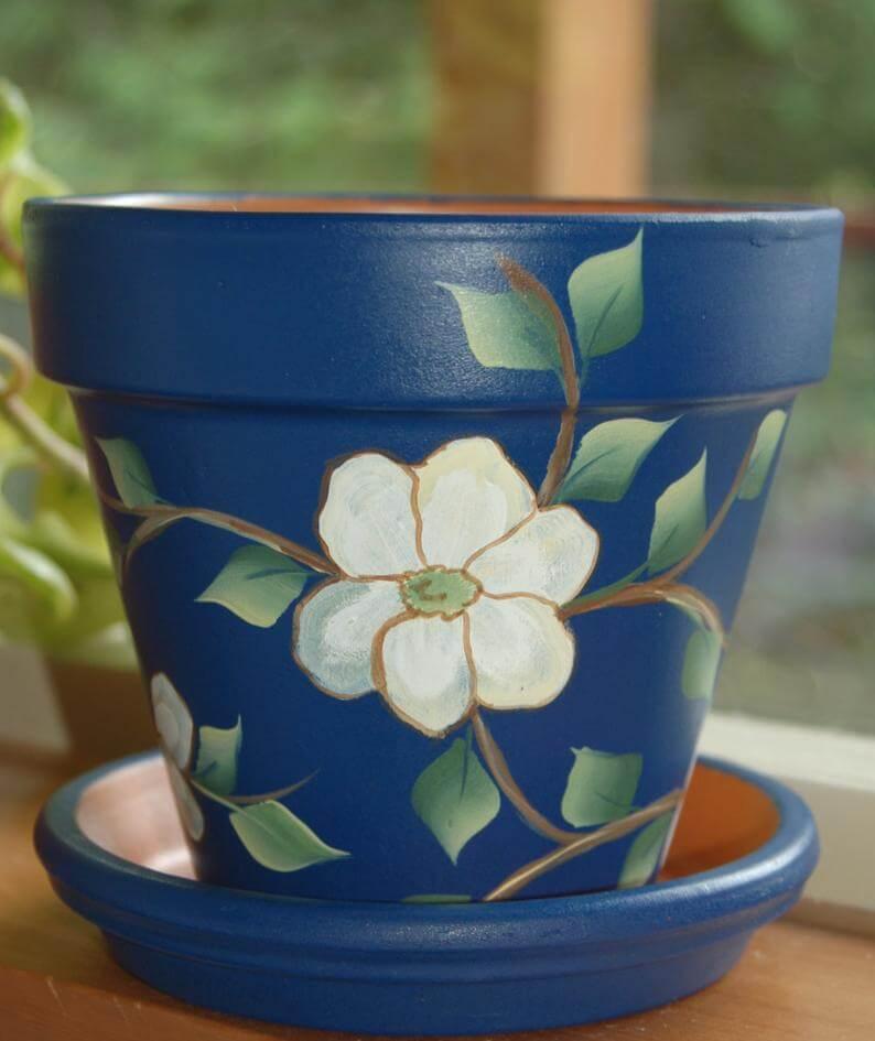 Elegant Hand-Painted Dogwood Floral Flower Pot