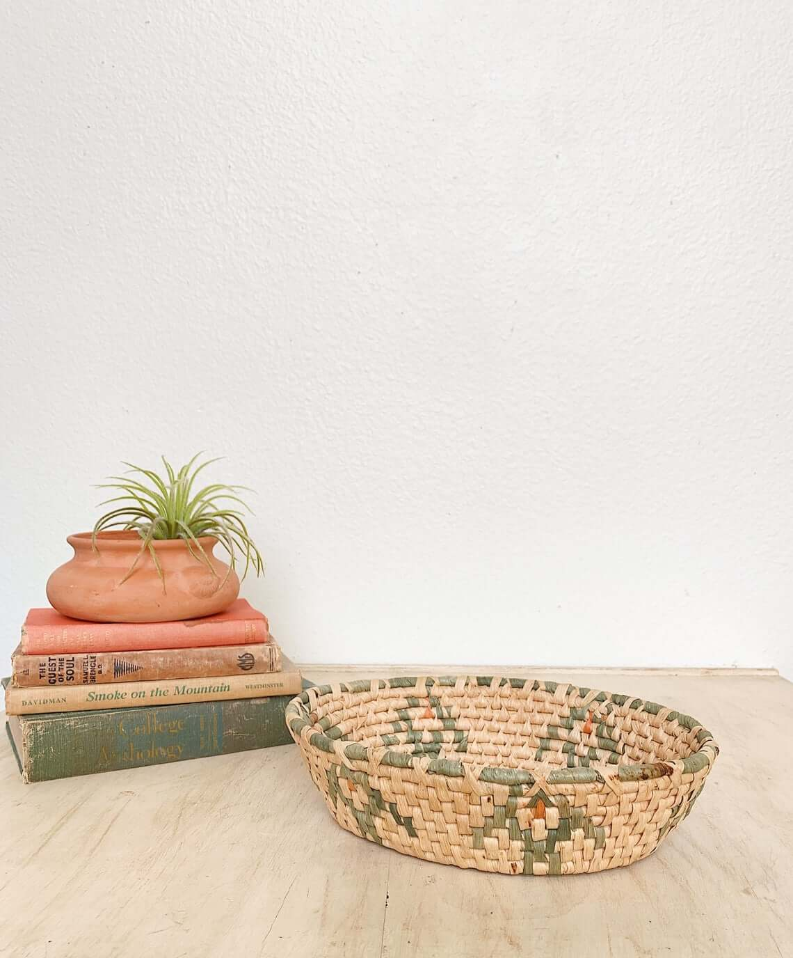 Tribal Design Beige and Green Shallow Basket