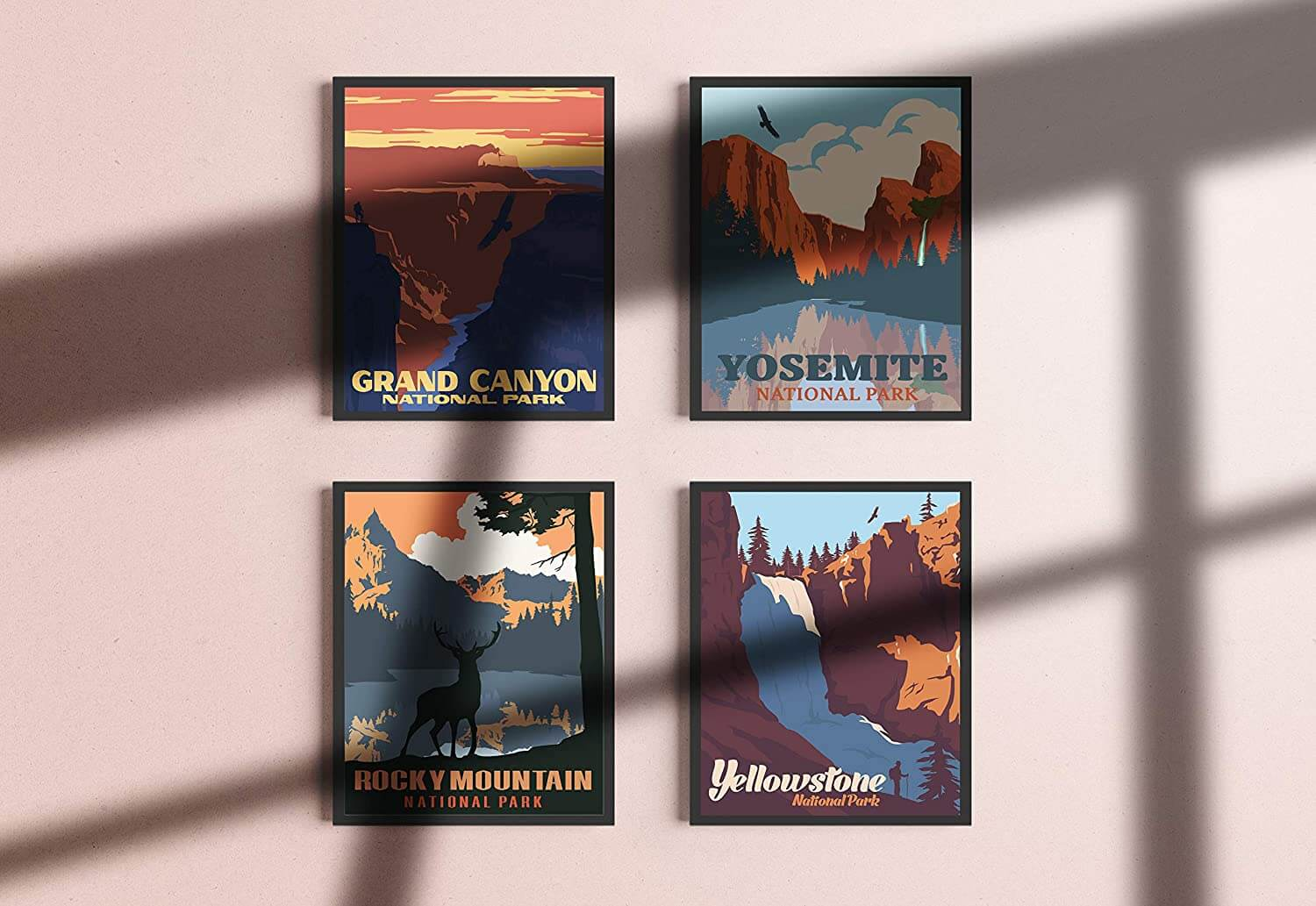Four Retro-Inspired National Park Illustrations