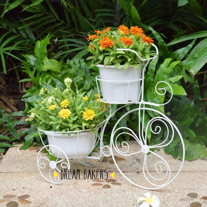 Vintage Tricycle Wrought Iron Plant Stand