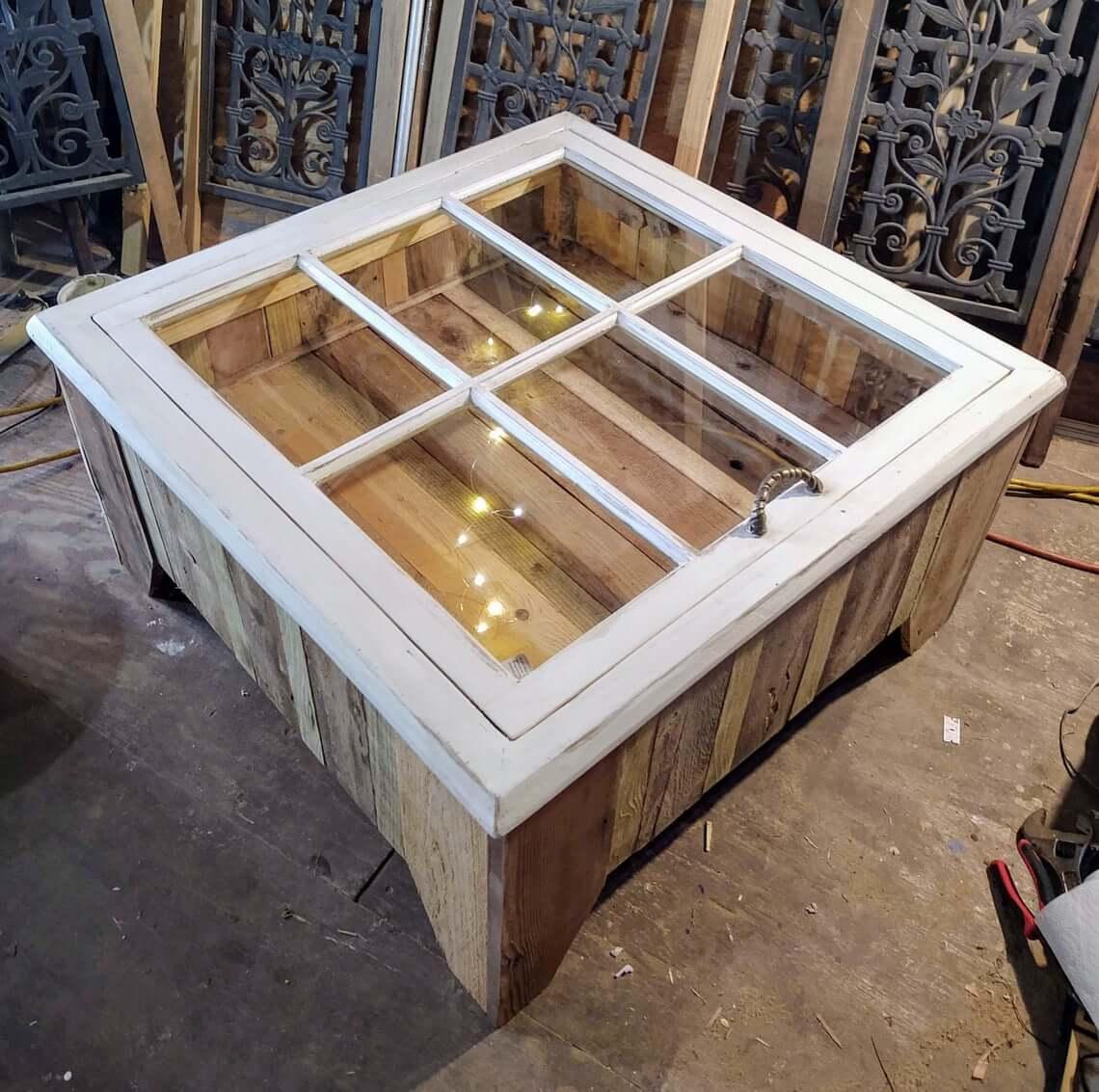 Reclaimed Wood Rustic Display Table