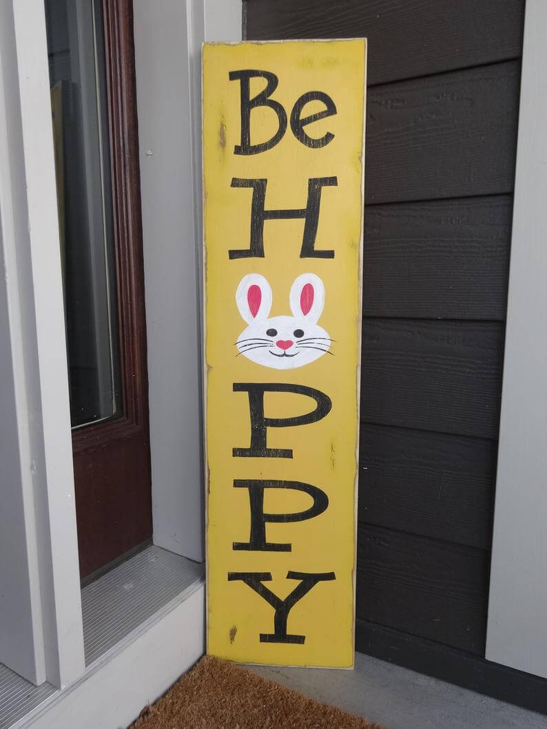 """Bright and Cheerful """"Be Hoppy"""" Sign"""