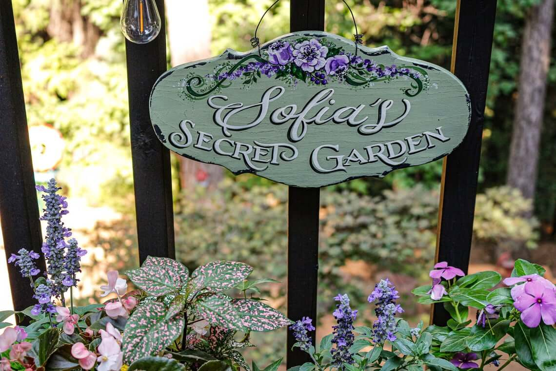 Hand-Painted Personalized Secret Garden Sign