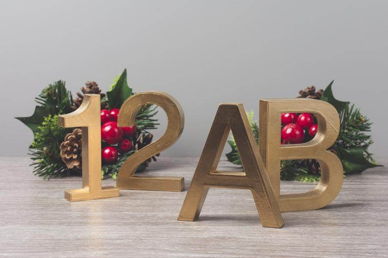 Modern Personalized 3D Printed Letters and Numbers