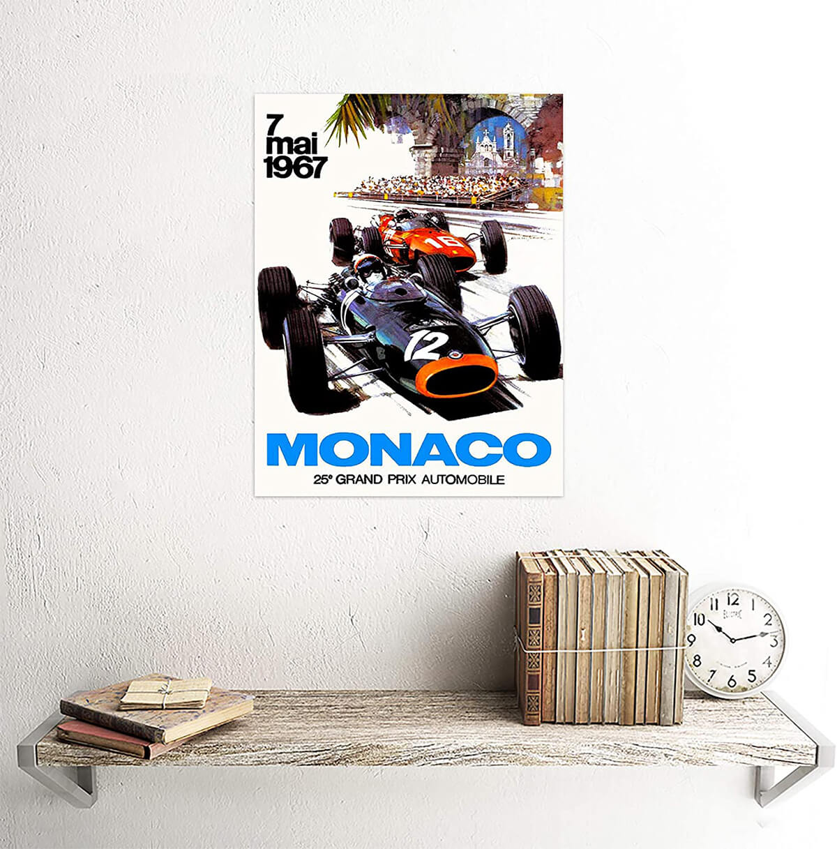 1967 Monaco Grand Prix Vintage Art Illustration