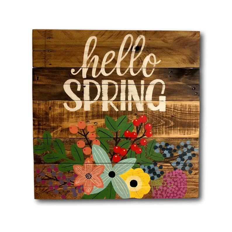 """Reclaimed Pallet Wood """"Hello Spring"""" Sign"""