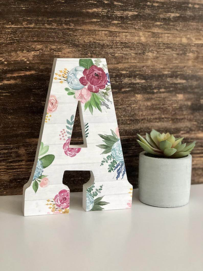 Custom Wooden Patterned Style Letter