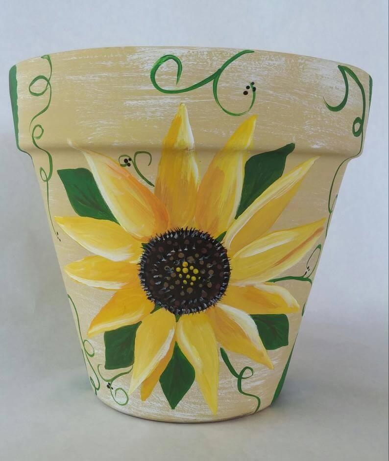 Cheery Hand Painted Sunflower Planter