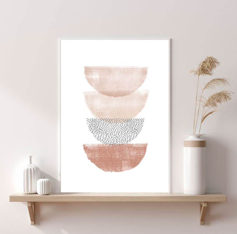 Abstract Minimalistic Boho Bowls Digital Print