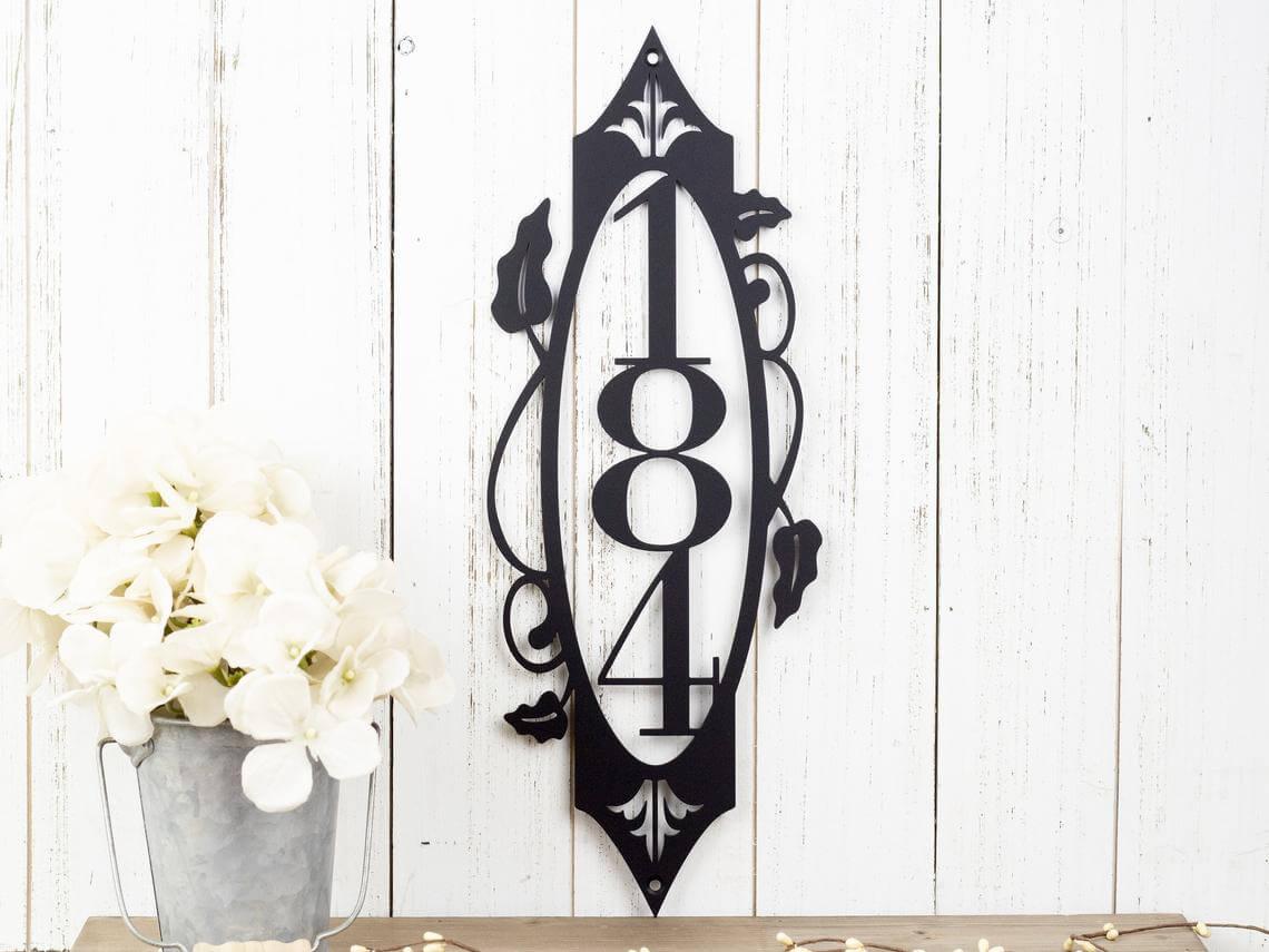 Elegant Metal House Number Sign