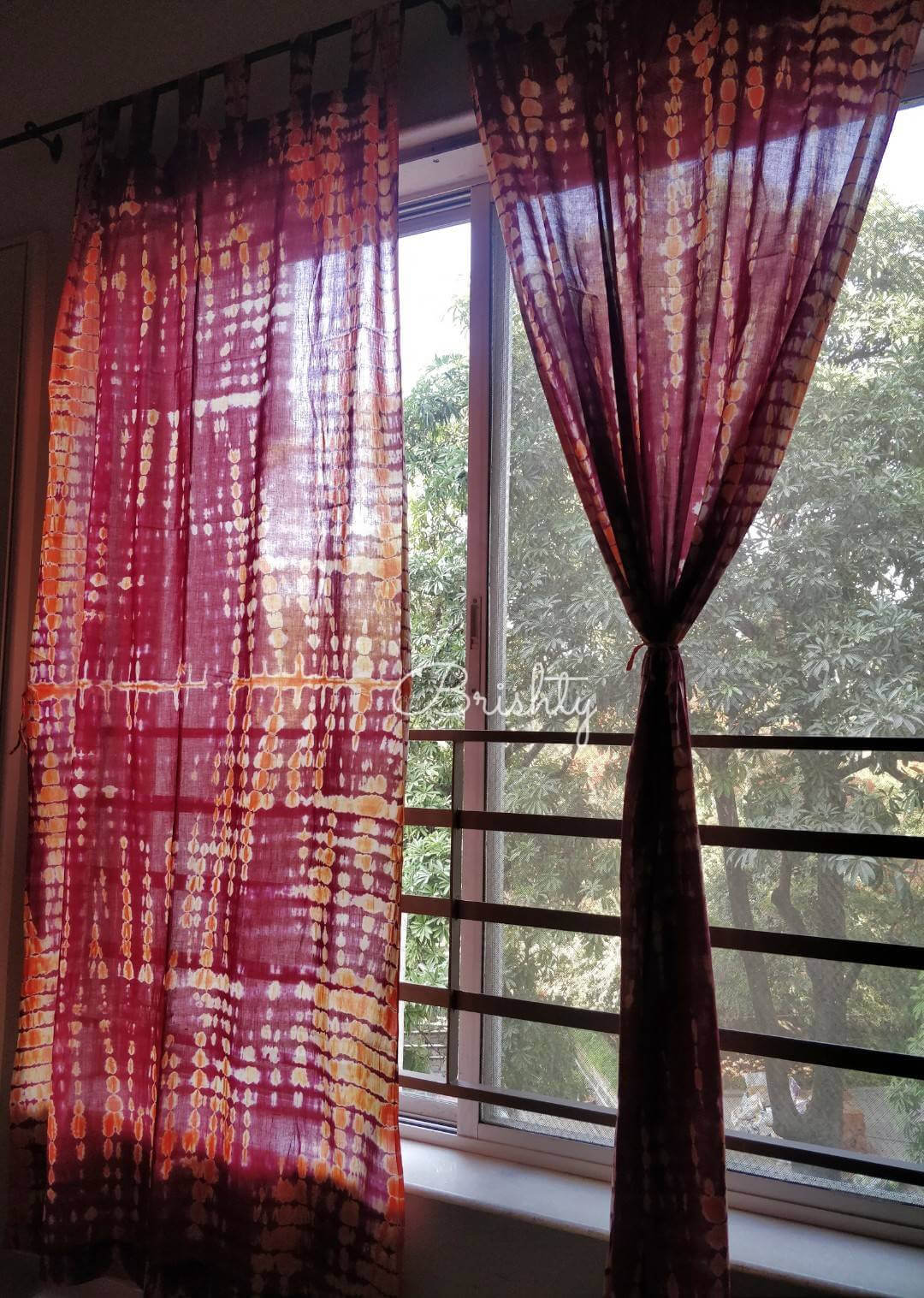 Boho Tie-Dye Indian Gauze Cotton Curtains
