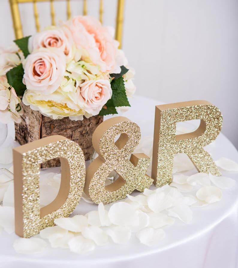 Freestanding Custom Initials Tabletop Sign