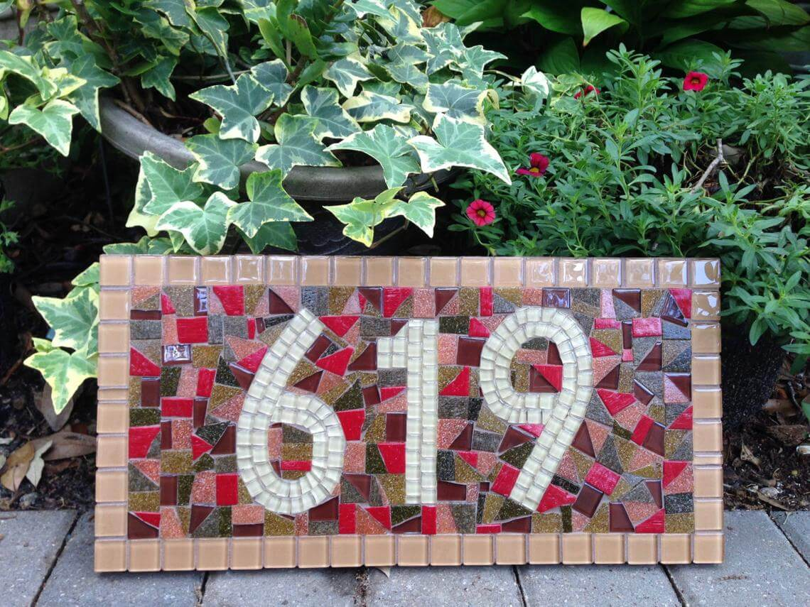 Cute Mosaic House Number Decor
