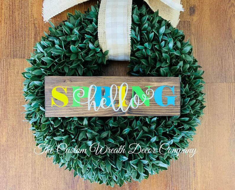 """Colorful """"Hello Spring"""" Rustic Wooden Sign"""