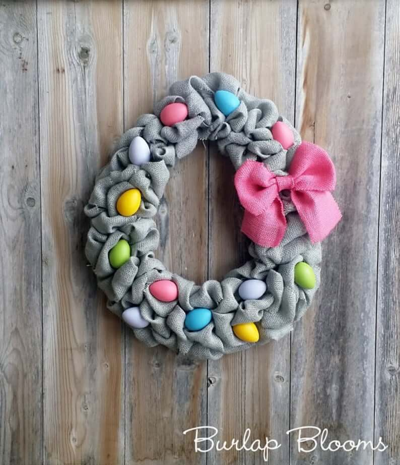 Burlap, Eggs, and Bow Easter Wreath