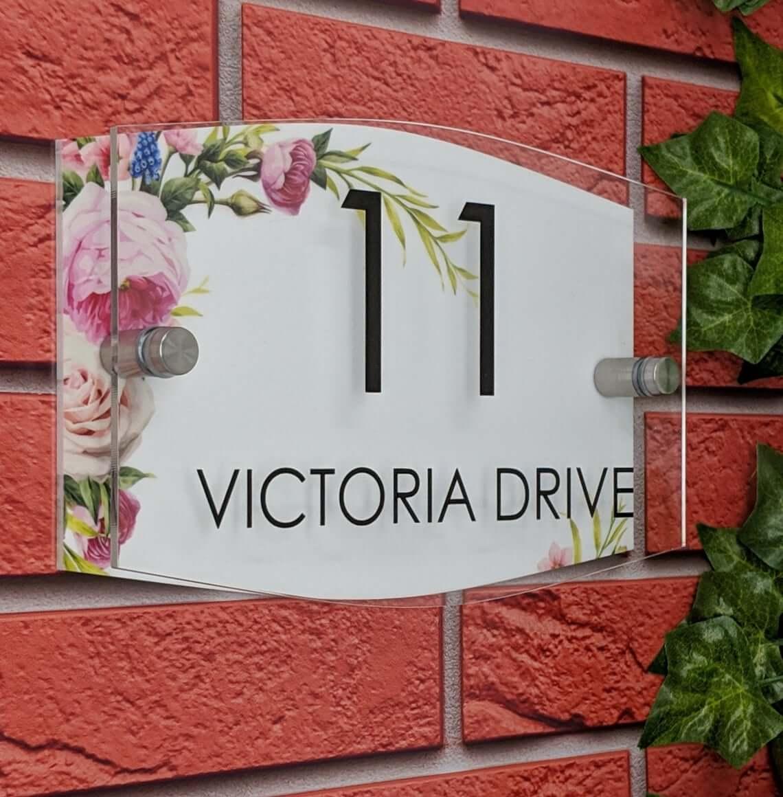 Elegant Floral Address Number Glass