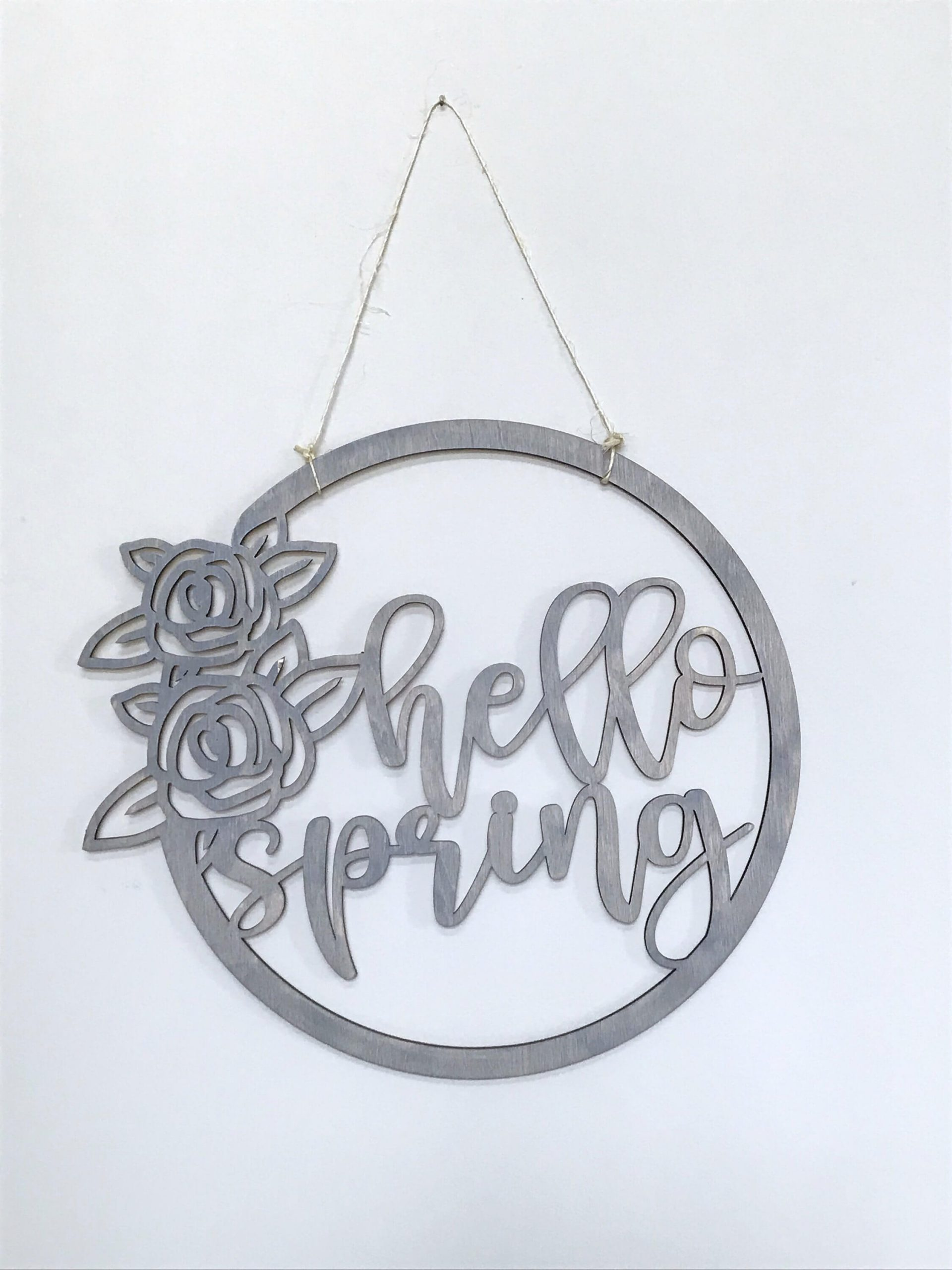 Laser-Cut Birch Wood Spring Wreath