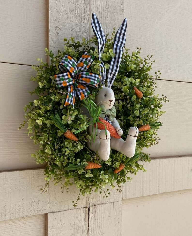 Garden Greens and Plaid Eared Bunny Wreath