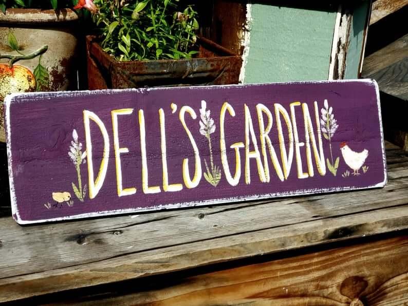 Plum Pretty Painted Chicken Garden Sign