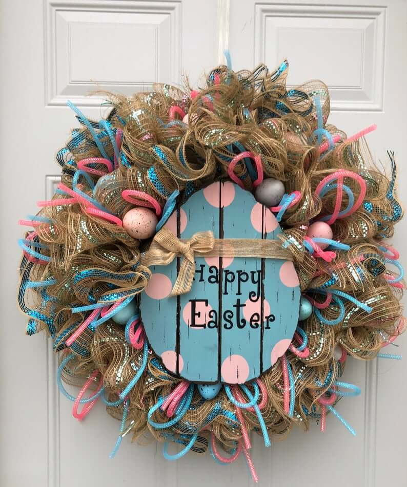 Pink and Blue Festive Easter Egg Wreath