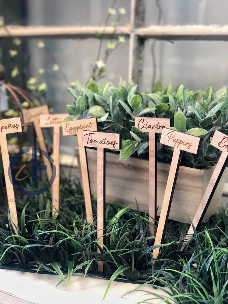Laser Etched Wooden Garden Markers