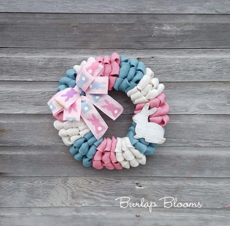 Pink, Blue, and White Burlap Bunny Wreath