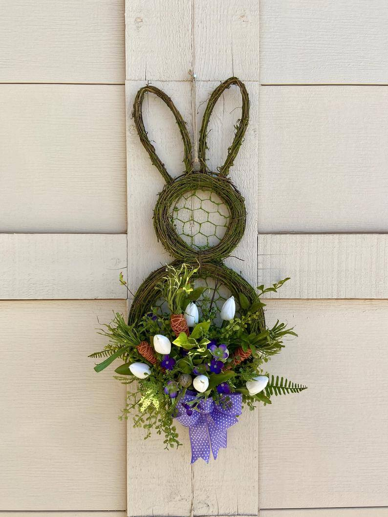 Grapevine and Chicken Wire Bunny Wreath