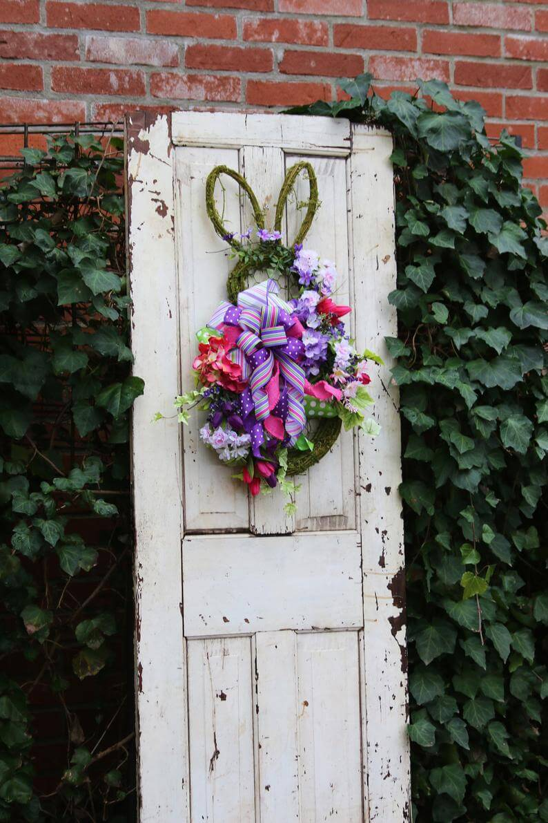 Bunny Shaped Wreath with Pretty Ribbons