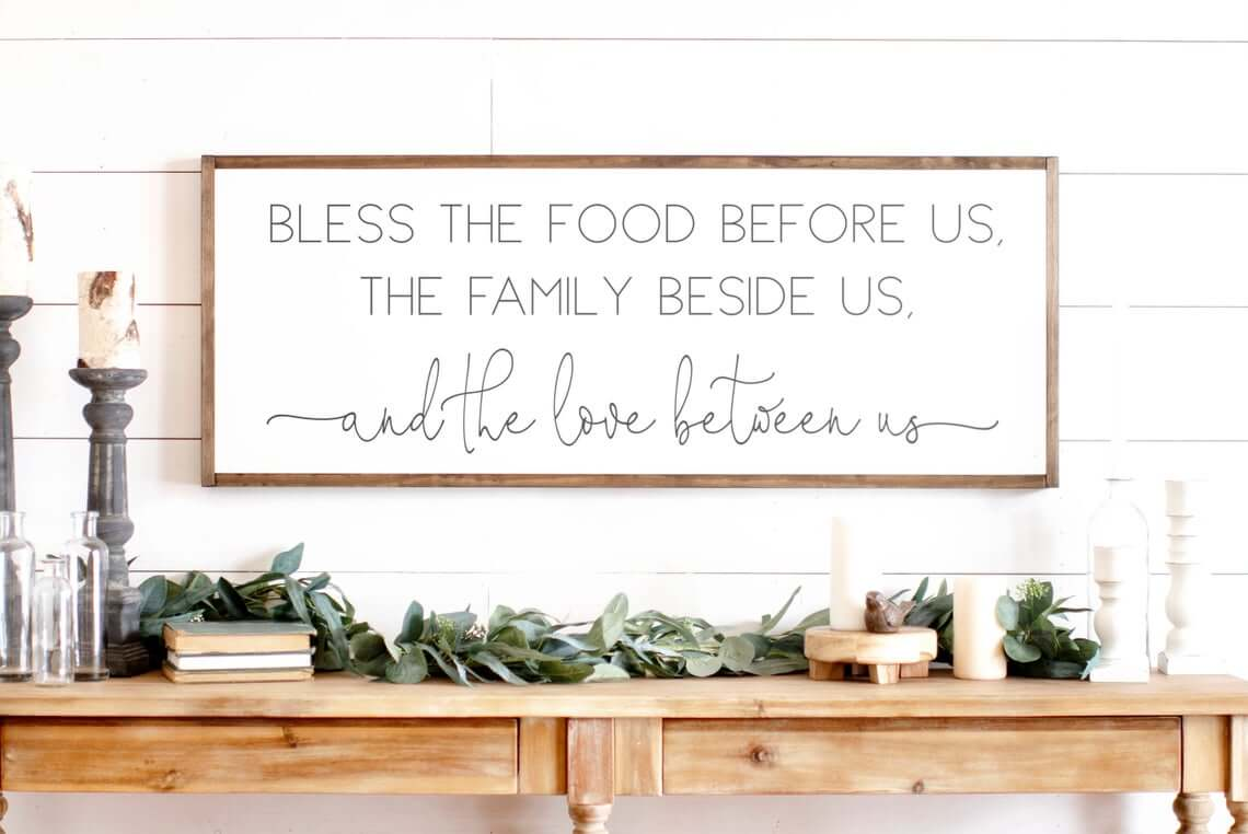 White and Wood Meal Time Blessings Sign
