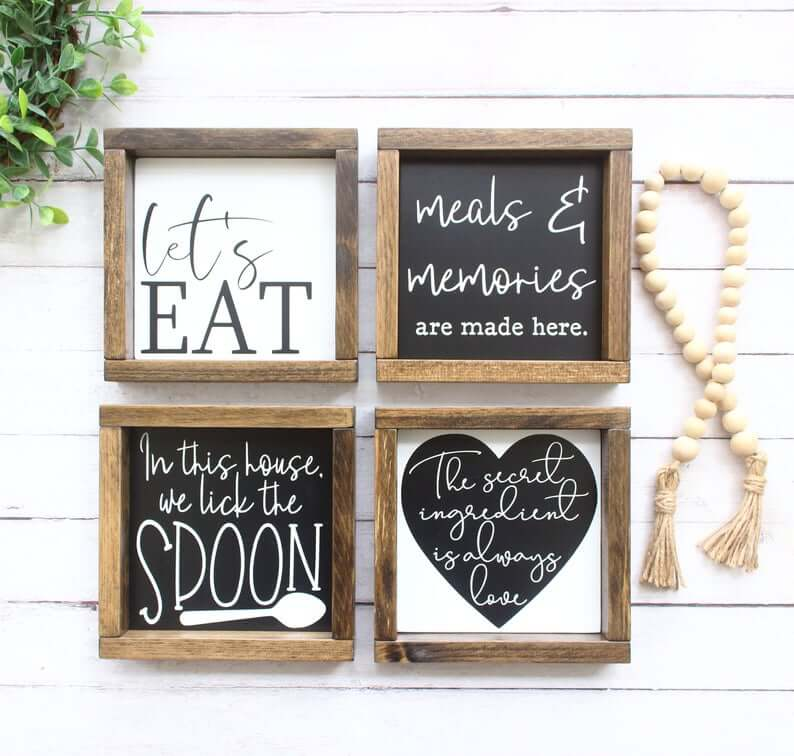 Fun Sayings Black and White Square Signs