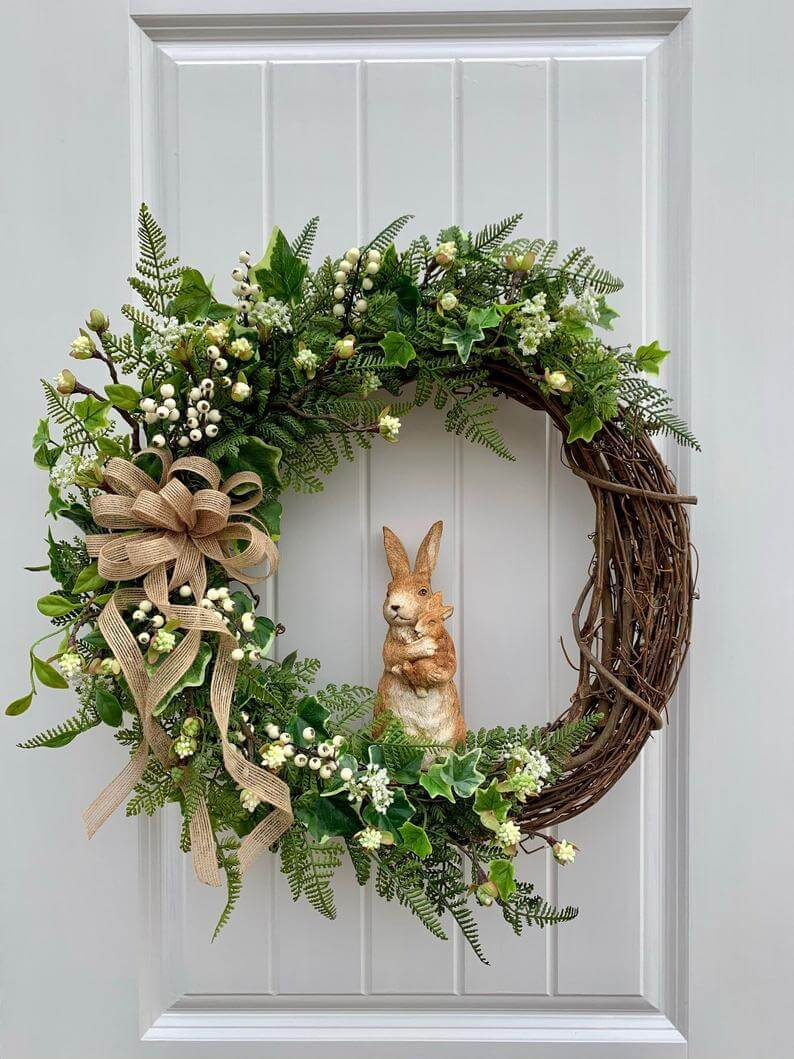 Natural Colors with Bunny Statue Spring Wreath