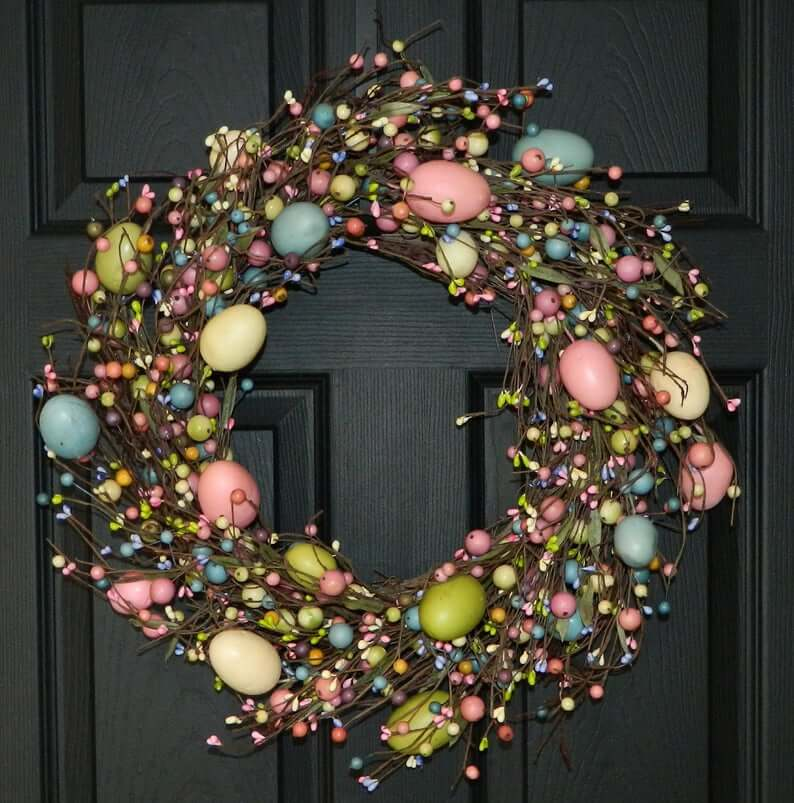 Beaded Berry and Easter Egg Wreath